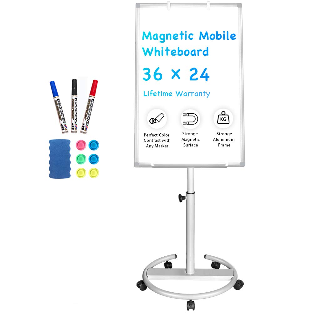 Mobile Whiteboard - 36 x 24 inches Portable Magnetic Dry Erase Board Stand Easel White Board Dry Erase Easel Standing Board w/Flipchart Hooks