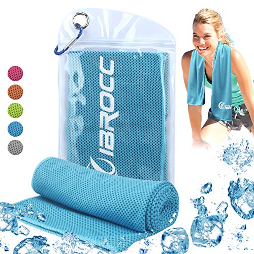 IBROCC Cooling Towel for Sports & Outdoors, Workout, Fitness, Gym, Yoga, Pilates, Yoga Golf Travel, Camping & More (Blue)