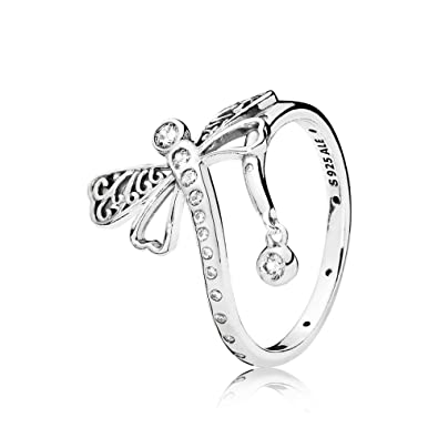 822e696ca Amazon.com: Pandora Ring 197093CZ-52 woman silver Dreaming Dragonfly ...