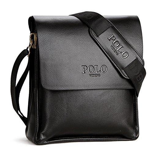 (JN1011-D2) Bolso de hombro para hombres en piel de vaca con la capa superior Bolso de 3 vías Bolso de hombro 2 modelos de cuero genuino-bolsa de bronce Negro