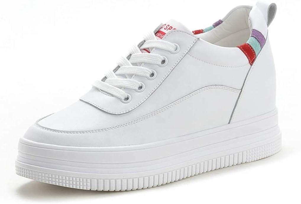 Zapatillas de Mujer con cuñas Zapatillas de Invierno con Forro de Felpa cálida Decoración de Color de Bloque Costura de Cuero con Cordones Tacón Oculto 7 CM Zapatos Blancos Casuales para Mujer