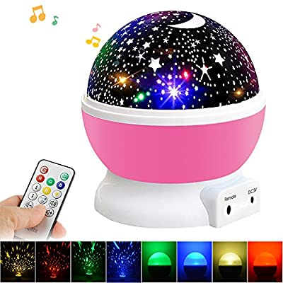 Newest MUSIC Night Light for Kid with Remote Control, Beartwo Night lighting Lamp 360 Degree Rotating Projector with Music Player, USB Cable/Batteries Powered for Nursery, Bedroom