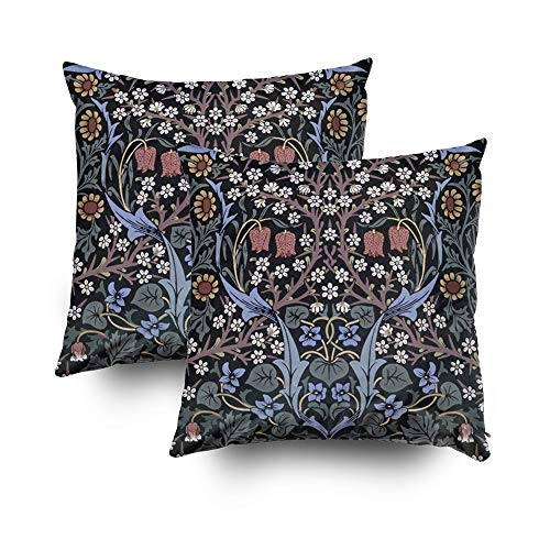 (Musesh Christmas Pack of 2 Wallpaper by William Morris Cushions Case Throw Pillow Cover for Sofa Home Decorative Pillowslip Gift Ideas Household Pillowcase Zippered Pillow Covers 16x16Inch)