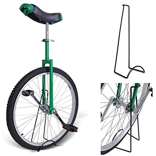 24'' Inches GREEN Unicycle 1.75 Skidproof Tire w/ Stand Cycling Exercise Mountain Wheel by Jamden