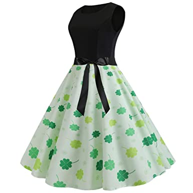 e012d9b95 TIFENNY St. Patrick's Day Women Fashion Vintage 1950s Retro Shamrock  Sleeveless Prom Swing Dress Clover Print Dresses at Amazon Women's Clothing  store: