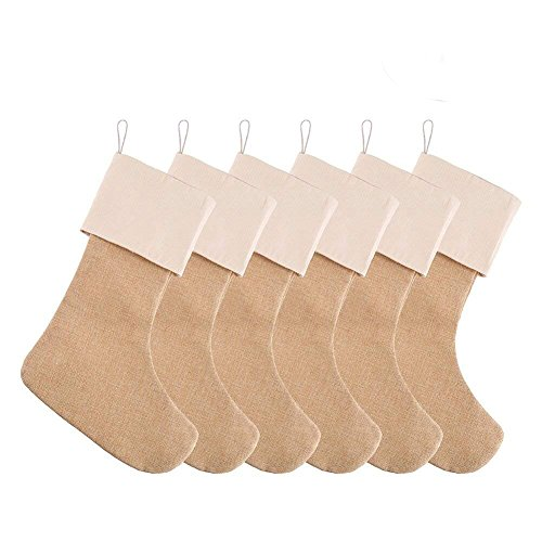 DECORA 21.5 inch Natural Jute Burlap Christmas Stocking Fireplace Hanging for Gifts Goodies Handmade Projects Set of 6