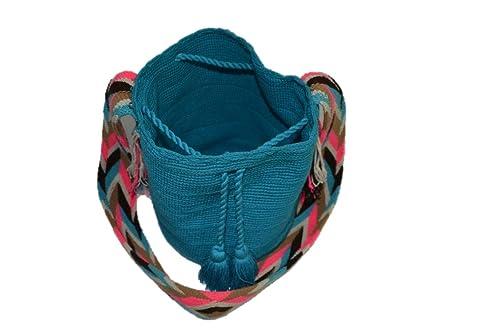 Bolso Colombiano Wayuu Autentico Algodón Salvaje Azul: Amazon.es: Zapatos y complementos
