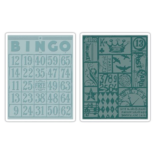 Sizzix 656643 Texture Fades Embossing Folders, Bingo & Patchwork Set by Tim Holtz, Pack of 2, -