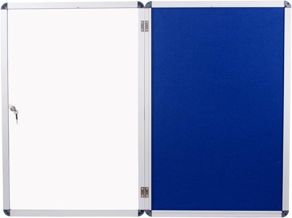 VIZ-PRO Bacheca antifurto con serratura telaio in alluminio argentato 900 x 600 mm