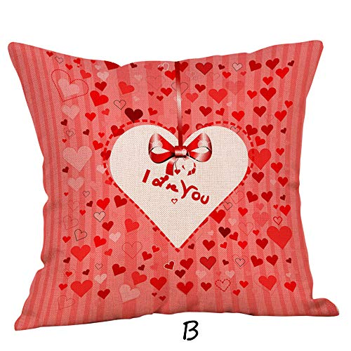 (Happy Valentine iYBUIA Sweet Love Square Pillow Cases Linen 4545cm Home Decor)