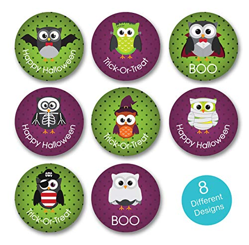 Halloween Owl Stickers / 8 Alternating Halloween Designs / 500 Halloween Stickers