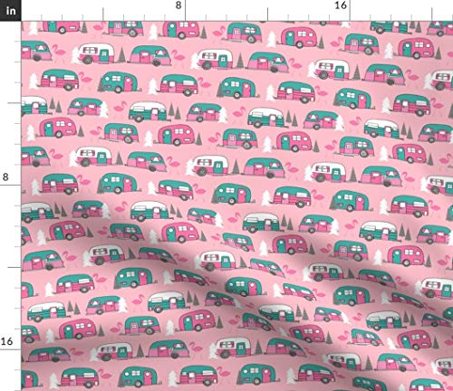 Spoonflower Vintage Camper Fabric - Retro Camper Camper Van Camping Trailer Flamingo Pink and Turquoise by Andrea Lauren Printed on Petal Signature Cotton Fabric by The Yard