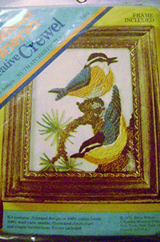- Columbia Minerva Crewel Embroidery Nuthatches Picture Kit 4 x 5