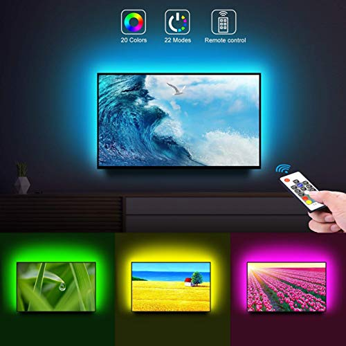 Govee TV Backlight 6.56ft RGB Strip Light,Non-Waterproof TV Bias Lighting Kit with Remote Controller,Monitor Lighting Kit for HDTV Desktop PC,USB Powered