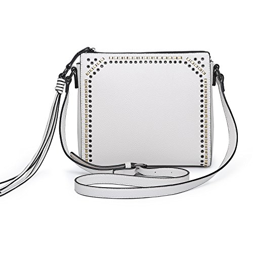 seOSTO Medium Crossbody Bags for Women, Shoulder Bag with Tassel Crossbody Purse Multi Pocket Bags (White) ()