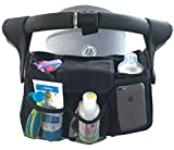 Oima® BEST STROLLER ORGANIZER Baby Accessory-Universal Fit w/Adjustable Straps-Two Deep Cup Holders-Adjustable Compartments-Stroller Caddy-Extra Large Space For Diapers & Toys (BLACK)