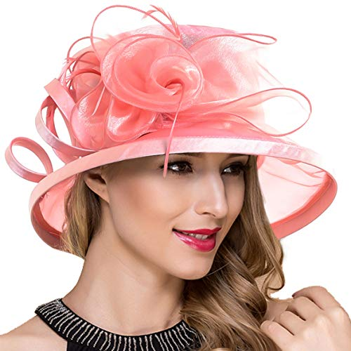 Lady Church Derby Dress Cloche Hat Fascinator Floral Tea Party Wedding Bucket Hat S051 (S043-Pink)