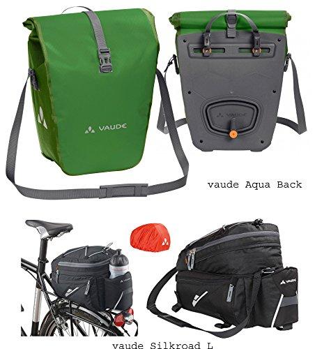 vaude Aqua Back Radtaschen (1 Paar) - Farbe parrot green + vaude Silkroad L Gepäckträgertasche