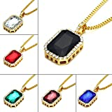 Angelcrab 18k Gold Plated Iced Out Octagon Simulated Gem Pendant Necklace, 30''