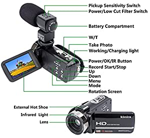 Camcorder Camera,Kimire HD 1080P Camera With Microphone Remote Control Infrared Night Vision 3.0 Inch 270 Degree Rotation Screen 24 MP Megapixels 16X Powerful Digital Zoom Video Recorder from China
