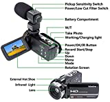 Camcorder Camera,Kimire HD 1080P Camera With Microphone Remote Control Infrared Night Vision 3.0 Inch 270 Degree Rotation Screen 24 MP Megapixels 16XPowerful Digital Zoom Video Recorder(3051STR-Black)