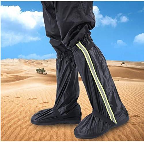 XHYRB 厚い耐摩耗性の成人雨天防水ノンスリップ靴カバー砂漠の砂の高いレッグスリーブ、利用できるさまざまな色のセットアウトドア積雪、レインブーツ、 防水靴、防雨カバー、長靴 (Color : Black, Size : L)