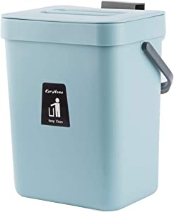 KaryHome Hanging Small Trash Can with Lid Under Sink for Kitchen,Food Waste Bin,Kitchen Compost Bin for Counter Top,Blue