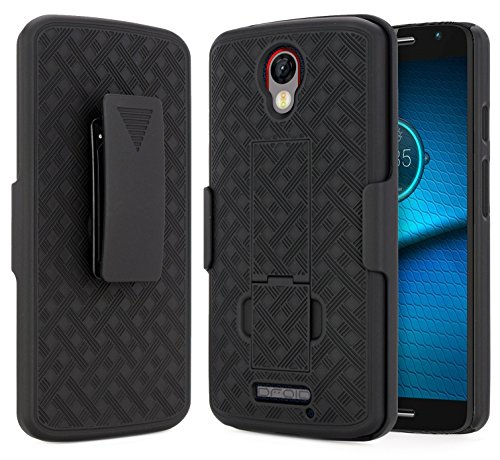 Droid Turbo 2 Case (Verizon), NageBee Combo Shell & Holster Case Super Slim Shell Case w/Built-in Kickstand [Swivel Belt Clip] Holster for Motorola Moto Droid Turbo 2 XT1585 (Black)
