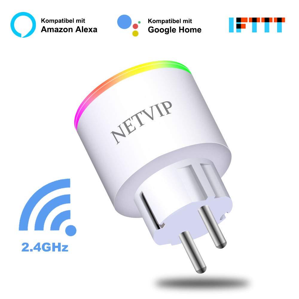 Enchufe Inteligente Wifi, NETVIP Inalá mbrico Smart Monitor de Energí a del Zó calo del Interruptor Control Remoto,Funciona con  Alexa Google Home e IFTTT,16 A/3840W con RGB luz nocturna