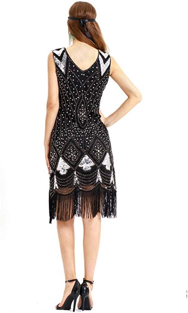Robe De Gatsby Frang/ée sans Manche 1920 Ann/ée Col V D/écoration Paillettes Soir/ée Art D/éco Danse Latin