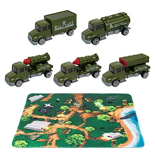 Army Truck Toys with Play Mat, 5 Military Vehicles, 14″ x 18″ War Playmat, Army Vehicles Set, Mini Military Car Toys