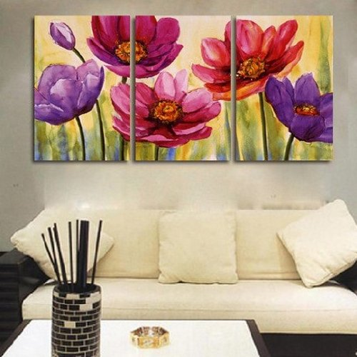 3 Piece Canvas Wall Art Painting Artwork Spring Flower (Unstretch No Frame)