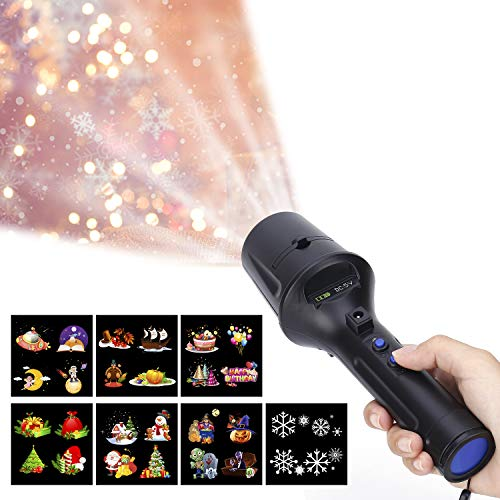 LUXONIC Portable Handheld LED Projector Flashlight Light 2 in 1 Decoration Projector Lamp Battery Operated with 7 Animated Pattern Slides and Tripod Holiday Projection Lamp for Kids,