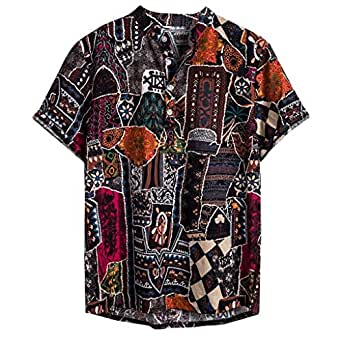 ♛2019 Clearance Sale♛ - Chamery Summer Shirt for MenMens Ethnic Short Sleeve Casual Cotton Linen Printing Hawaiian Shirt Blouse(Mulitcolor,XXXL)