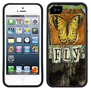 Butterfly Fly Vintage Handmade iPhone 5 Black Bumper Plastic Case