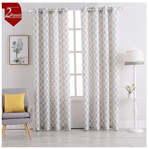 Moroccan Tile Textured Gray Curtains Window Curtains for Bedroom Living Room or Kitchen 84 Inch 2 Panels (Bedroom Moroccan)