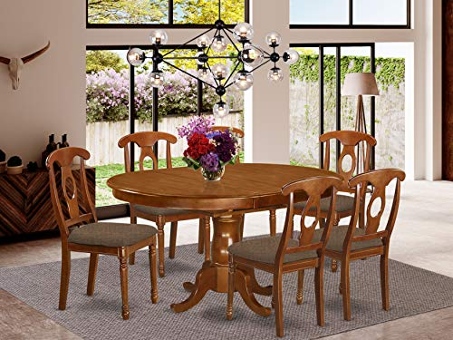 7 Pc Dining room set-and Oval Dining Table with Leaf and 6 Dining Chairs