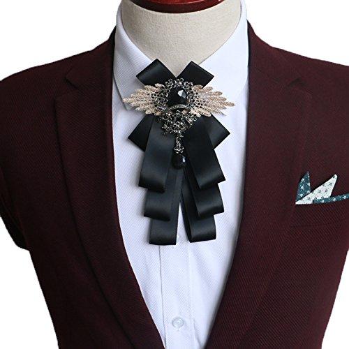 (Rhinestone Crystal Dangle Weddding Party Men Pre Bow Tie Neck Tie Adjustable (Black))