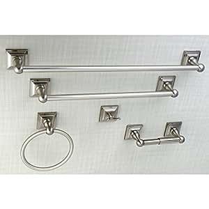 Acerra 5 Piece Bathroom Accessory Set Satin Nickel Home Kitchen
