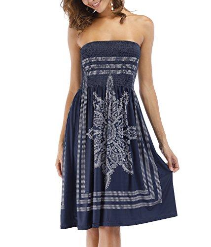 Zyyfly Women's Strapleess Floral Print Bohemian Beach Sun Dress Cover-up Dress Navy S