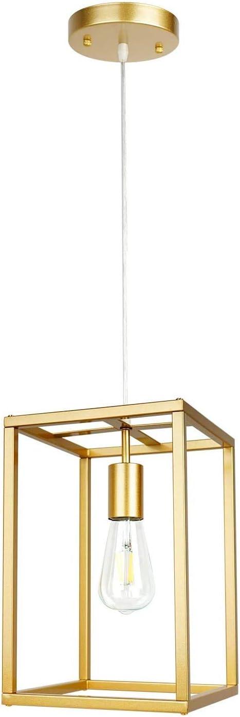 Modern Industrial Pendant Light Retro Loft Design Lantern Farmhouse Chandelier for Kitchen Island Dining Room Bedroom Foyer Gold