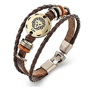 Leo Leather Bracelet, Unisex Constellation Bracelet Braided Rope Bangle For Men and Women