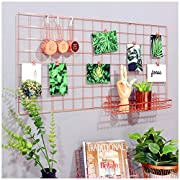 Simmer Stone Rose Gold Wall Grid Panel Photo Hanging Display & Wall Decoration Organizer, Multi-Functional Wall Storage Display Grid, 5 Clips & 4 Nails Offered, Set of 1, Size 17.7 x37.4