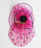 Women Removable Fascinator Hair Clip Headband Lace Flower Pearl Wedding Headwear Bridal 1920s Headpiece (Rose Red)