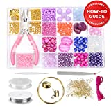 Jewelry Making Kit - Beading Starter Kit, All Needed Wire Jewellery Making Supplies, Beads for Adults, Girls, Women, Teens, Beginners to Make DIY Bracelets, Necklaces, Earrings | Pink, Gold