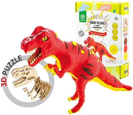 [해외]Robod 에어 드라이 공룡 클레이 모델링 클레이 반죽 몰딩 크래프트 클레이 3D 나무 공룡 퍼즐 클레이 슈퍼 라이트 클레이 세트 6 캔 몰딩 매직 클레이 크래프트 키트 아트 DIY 클레이 크래프트 세트 / ROBUD Build Dinosaur Figure with Modeling Cl...