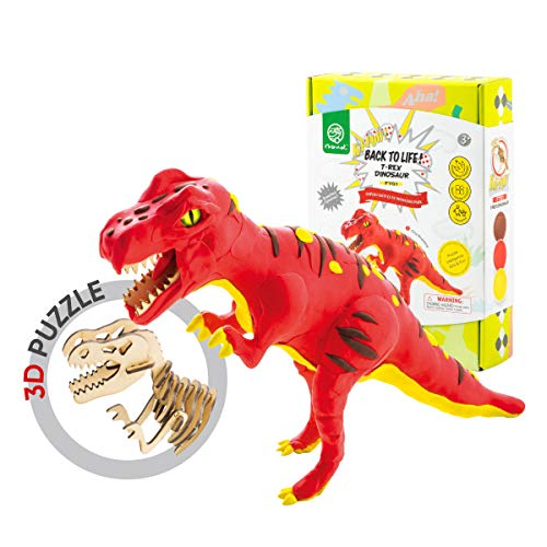 (ROBUD Build Dinosaur Figure with Modeling Clay-Dinosaur Toy Playset for Educational Learning-Creative DIY 3D Wooden Skeleton Puzzle-Ideal Christmas Birthday Gifts for Kids(T-Rex))