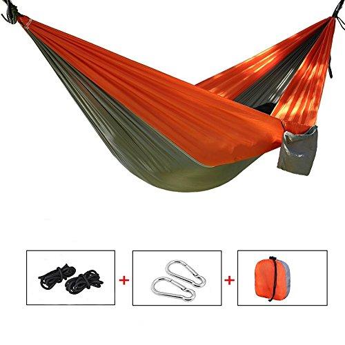 Price comparison product image Yingee Camping Hammock,  Light Nylon Cloth Parachute Multifunctional Light Double Outdoor Camping Hammock,  Sleeping Bag,  Camping Camping,  Beach,  Pier,  Garden 2 x Hanger (Orange)