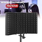 dezirZJjx Premium Microphone Isolation Shield, Foldable Studio Recording Microphone Isolator Panel, High-Density Sound