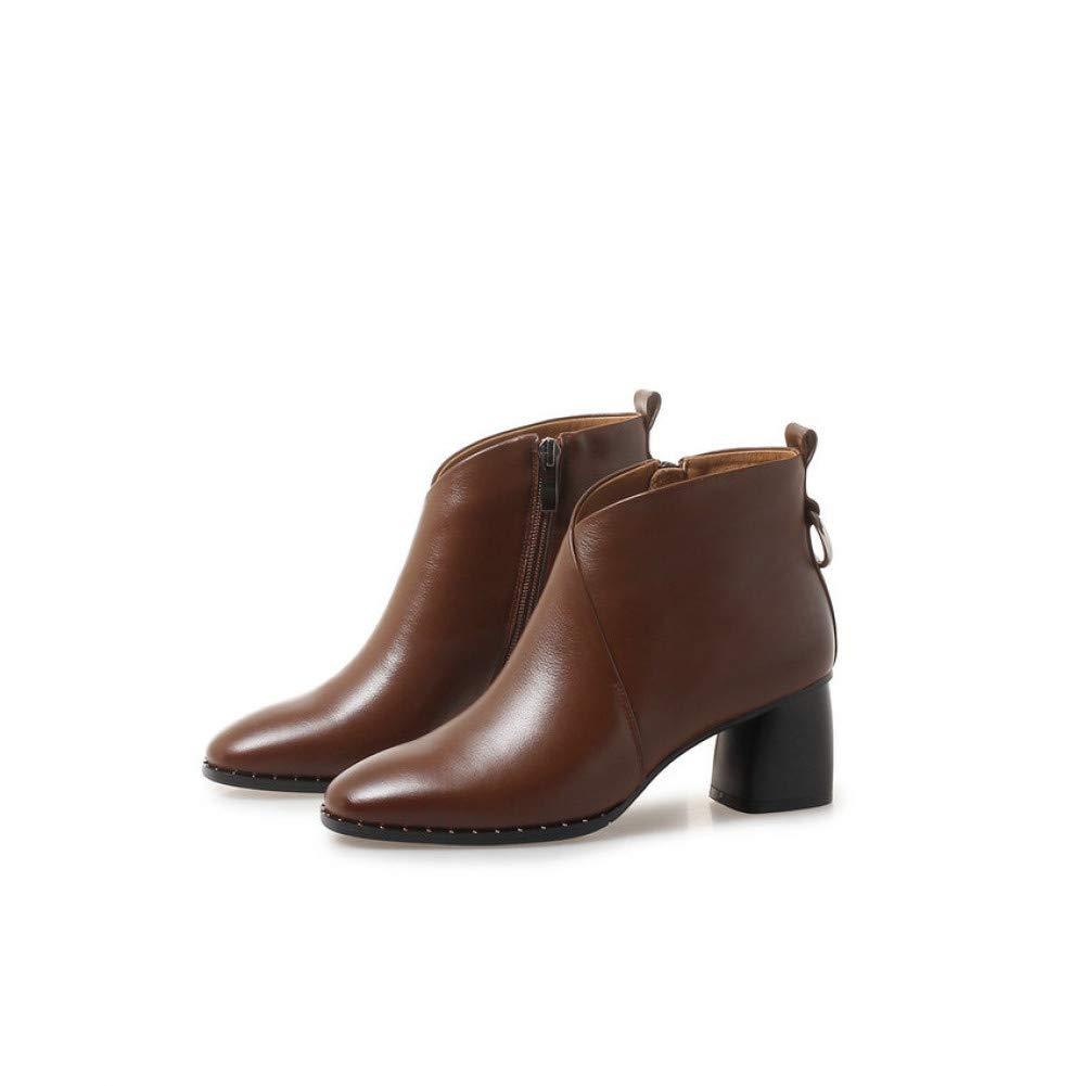 Ai Ya-xuezi Frau Stiefel Chelsea Schuhe Rindsleder Square Toe High Heels Schuhe Zip Mode Winter Frauen Stiefeletten Größe 34-42